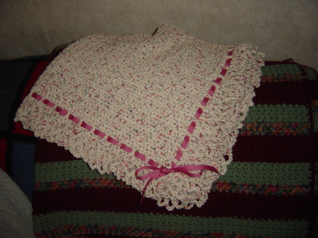 Crochet Patterns For Baby Blanket Edges : Crochet Cotton Baby Blanket apron strings